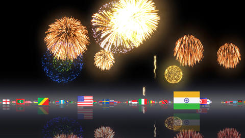 World Flags 3MFsh Stock Video Footage