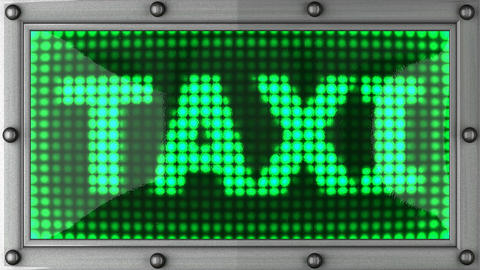 taxi announcement on the LED display Animation