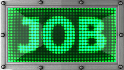 job announcement on the LED display Stock Video Footage