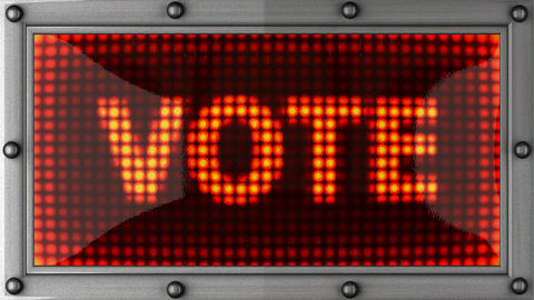 vote announcement on the LED display Animation