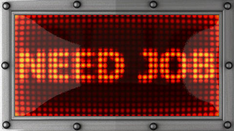 need job announcement on the LED display Stock Video Footage