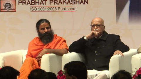 Indian Politician , LK Advani And Baba Ramdev stock footage