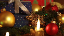 Christmas Still Life And Candles And Garland stock footage