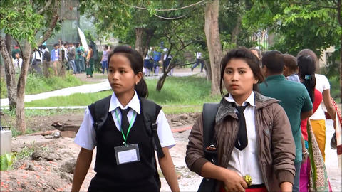 Manipuri Students/visiting Zoological Garden Impha stock footage