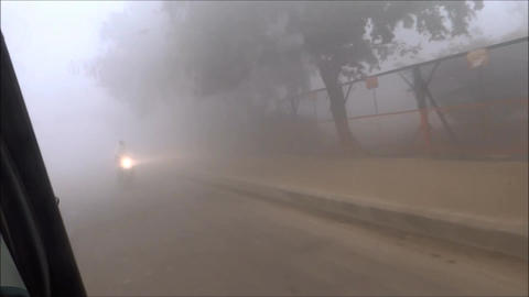 Driving in thick mist y environment Footage