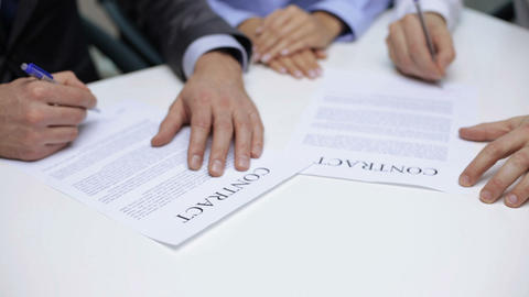 businessmen signing a contract Footage