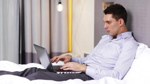 businessman working with laptop computer in hotel Footage