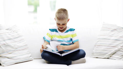 smiling little schoolboy reading book at home Footage