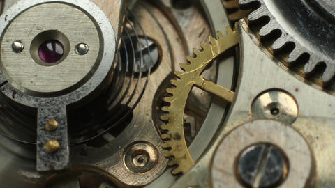 Old mechanical watch mechanism macro time lapse Live Action
