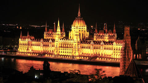 Timelapse of the Parliament in Budapest at night Footage