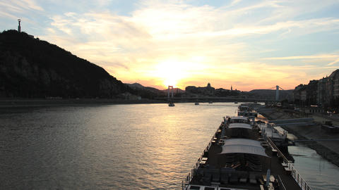 Sunset In Budapest stock footage