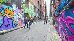 People visiting the Hosier Lane in Melbourne Footage