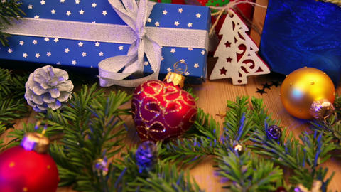 Spruce Branches And Decoration And Gifts stock footage