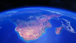 Planet Earth rotating over Southern Africa with li Animation