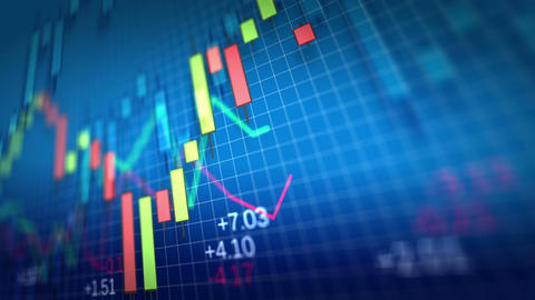 4K. Stock Market Chart on blue background. Shallow Footage