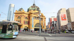 View of downtown Melbourne near Flinders Street St Footage