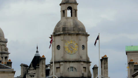 Clock tower of Horse Guards Parade in London Footage