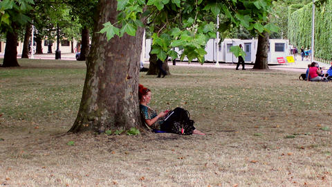 Girl Sitting Under A Tree In The Park stock footage