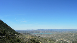 Panoramic Of Mountains And Lake Tilt stock footage