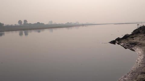 smooth flowing Yamuna river near Mathura Footage