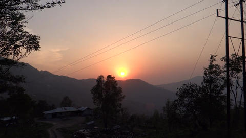 A sunset view in a rural hilly region at north-eas Footage