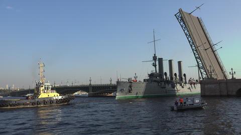 Aurora cruiser passes under bridge span Troitsky d Footage