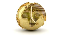 3d Animation Of Clock With Golden Globe Formed By  stock footage