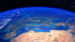 Planet Earth rotating past Europe and North Africa Animation