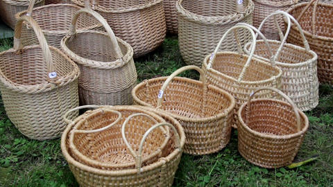 Newly weaved baskets Footage