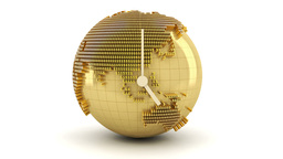 3d animation of clock with golden globe formed by  Footage