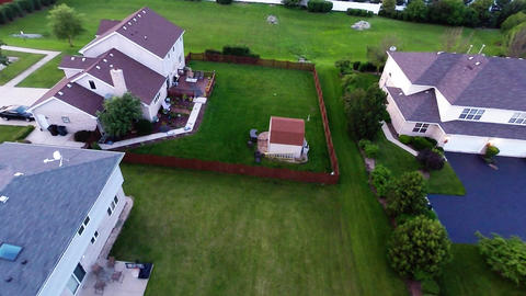 Aerial View Houses In Residential Suburban Neighbo stock footage
