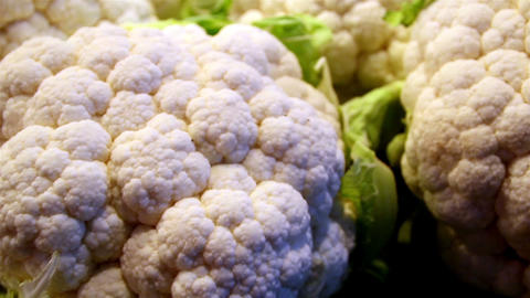 Set of big cauliflowers in the stand Footage