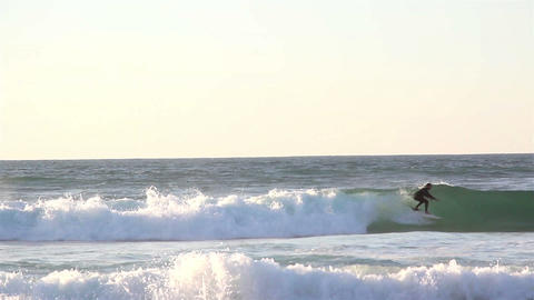 Big waves on the beaches seawater sport surfing Footage
