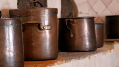 Big brown cooking pot set of brown pots Footage