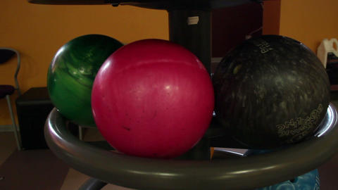 Black bowling ball rolling Footage
