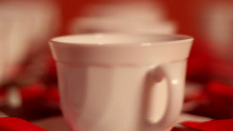 Set of tea cups on the table Footage