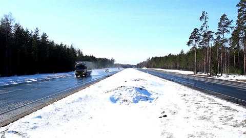 A highway with thick snow Footage