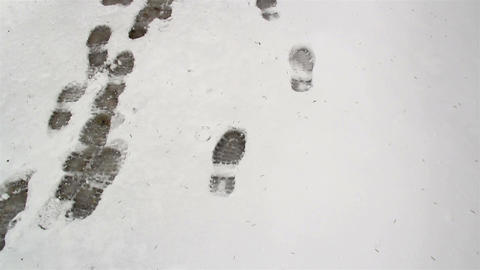 Footsteps found on the snow and a teepee Footage