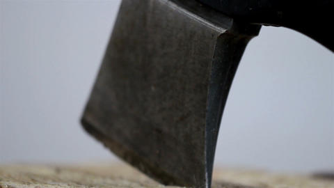 The tip on an axe pinch on the wood Footage