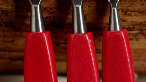 A Set Of Red Chisels stock footage