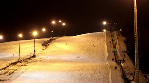 The view of a ski resort at night Footage