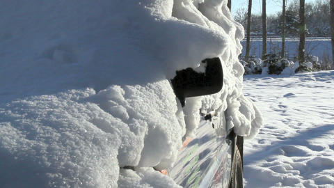A car covered with snow Footage