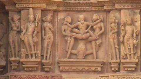 Erotic Art At Khajuraho Temple stock footage
