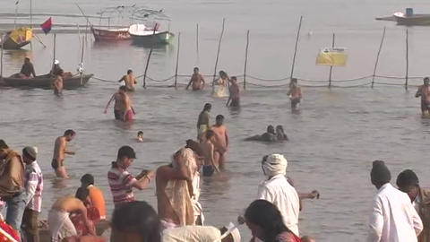 Kumbh Holy Bath Allahabad Kumbh Fair 2013 stock footage