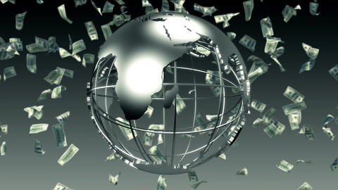 Earth Spin With Bank Notes stock footage