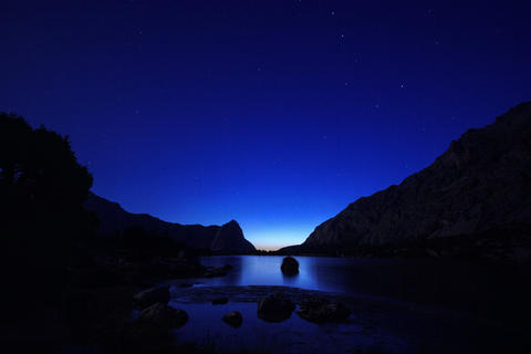 Day follows night, Kulikolon lakes. Tajikistan. Ti Footage