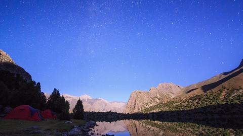 Mountain lake at night. Time Lapse. Pamir, Tajikis Footage