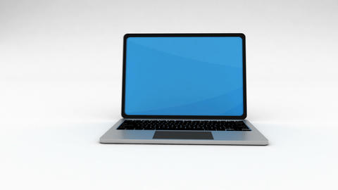 Laptop Computer Opening on white background. Matte Footage