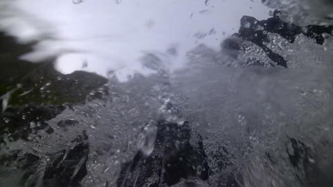 camera in waterfalls transparent water splashes, d Footage