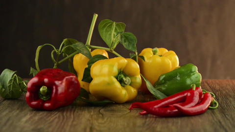 Colored Bell Peppers stock footage